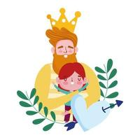 bonne fête des pères, papa barbu avec couronne serrant un fils, flèche percée de coeur