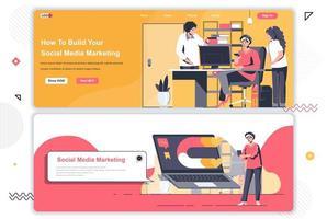 Ensemble de pages de destination marketing sur les réseaux sociaux.
