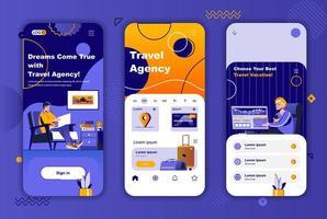 kit de conception unique d'agence de voyage pour les histoires de réseaux sociaux. vecteur