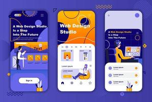kit de conception unique de studio de conception Web pour les histoires de réseaux sociaux. vecteur