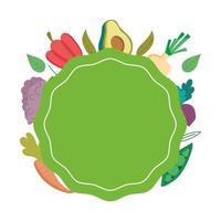 aliments sains nutrition fraîche modèle d'étiquette oraganic conception d'icône isolé vecteur
