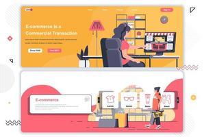 Ensemble de pages de destination de commerce électronique. vecteur