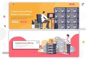 ensemble de pages de destination du marché de crypto-monnaie.