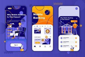conception unique de services bancaires mobiles pour les histoires de réseaux sociaux. vecteur