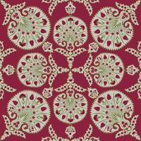 motif de tissu sans couture floral. s'épanouir d'origine ethnique orientale carrelée. ornement arabe avec des fleurs et des feuilles fantastiques. vecteur