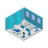 chambre d'hôpital isométrique illustrée en vecteur sur fond blanc