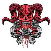 crâne de grunge avec des roses vecteur
