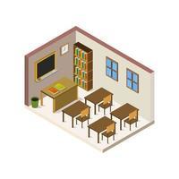 salle d & # 39; école isométrique sur fond blanc