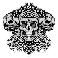 crâne grunge et oeil de la providence vecteur