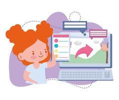 éducation en ligne, cours d'informatique pour étudiante fille, site Web et cours de formation mobiles