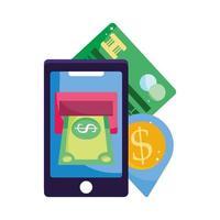 paiement en ligne, carte de crédit d'argent de billet de smartphone, achats sur le marché du commerce électronique, application mobile