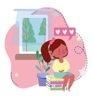 éducation en ligne, étudiante assise sur une pile de livres à la maison, site Web et cours de formation mobiles vecteur