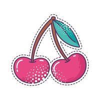 Élément de pop art fruits cerises autocollant icône design isolé