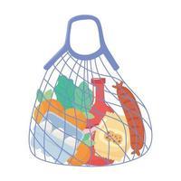 sac de ficelle en tissu réutilisable avec des achats de produits d'épicerie vecteur