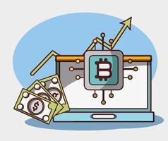 Bitcoin ordinateur portable crypto-monnaie finance trading argent numérique vecteur