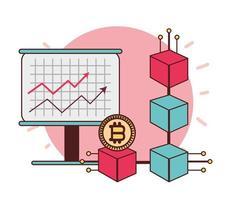 Bitcoin blockchain crypto-monnaie croissance du commerce argent vecteur