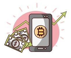 Bitcoin smartphone billet de banque dollar transaction crypto-monnaie argent numérique vecteur