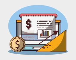 ordinateur portable graphique graphique pièce de monnaie argent entreprise croissance financière flèche