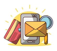 argent entreprise financière smartphone e-mail carte bancaire vecteur