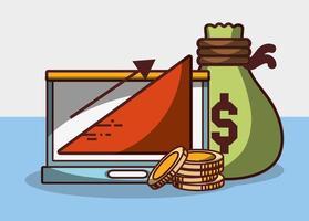 argent entreprise financier ordinateur portable sac pièces de monnaie graphique profit vecteur