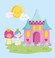 petite princesse de fées avec des fleurs de château dessin animé de conte adorable