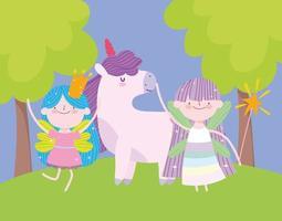 petite princesse de fées avec couronne de baguette et dessin animé de conte de licorne vecteur