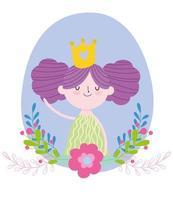 petite princesse de fée avec dessin animé de conte de fleurs de couronne d'or vecteur