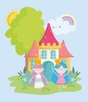 heureuse petite princesse de fées mignonne avec des couronnes et dessin animé de conte de château vecteur