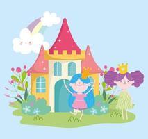 jolies petites fées princesse conte dessin animé fleurs arc en ciel château vecteur