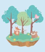 mignon petit lapin renard oiseau et écureuil dessin animé