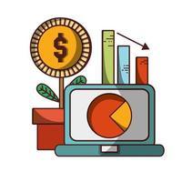 ordinateur portable graphique rapport usine pièces de monnaie argent entreprise financier vecteur