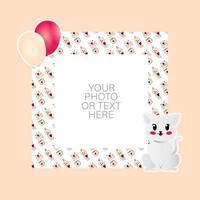 cadre photo avec dessin animé chat et ballons