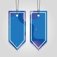 étiquettes commerciales bleues suspendues avec des couleurs vives