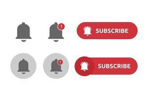 abonnez-vous à la collection d'icônes de cloches de notification vecteur