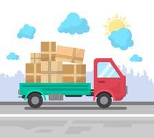 Camion de livraison à plat vecteur