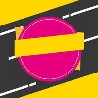 affiche de couleurs de bannière de vente cadre circulaire et ruban