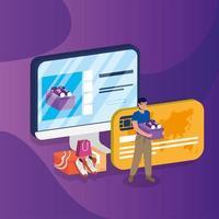 achats en ligne avec un homme achetant un ordinateur de bureau et une carte de crédit