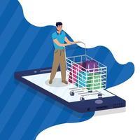shopping en ligne avec achat homme et smartphone