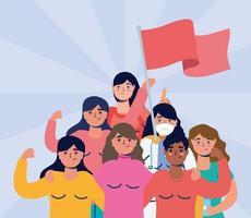 femmes interraciales protestant avec des drapeaux