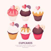 Cupcakes dessinés à la main de vecteur