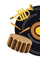 disque vinyle de musique avec instruments