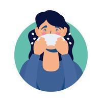 jeune femme malade avec caractère avatar nez qui coule