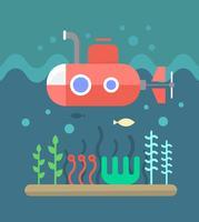 Sous-marin sous l'océan vecteur