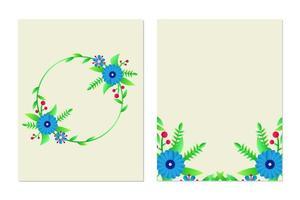 ensemble de conception de modèle de carte de voeux floral et carte d'invitation