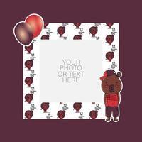 cadre photo avec dessin animé ours et ballons