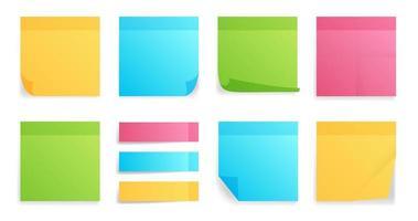 collection de feuilles de différentes couleurs de notes autocollantes vecteur