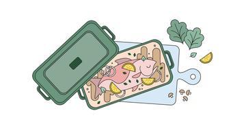 Vecteur de poisson cuit au four