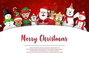 joyeux noël et bonne année, père noël et amis sur la carte postale de noël