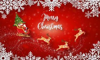 Père Noël sur un traîneau avec arbre de Noël sur bannière de carte postale de Noël