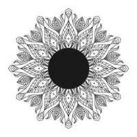 main dessiner mandala circulaire, mandala soleil. ornement décoratif dans un style oriental ethnique. page de livre de coloriage.